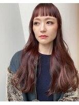 エルサロン 大阪店(ELLE salon)チェリーピンク×パッツン前髪