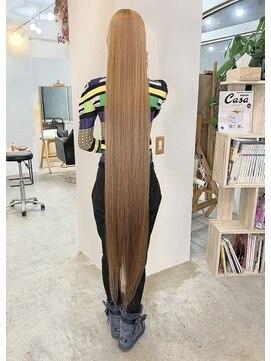 ジーナ(JINA)スーパーロングヘアーアッシュベージュグレージュヘアカラー黒髪