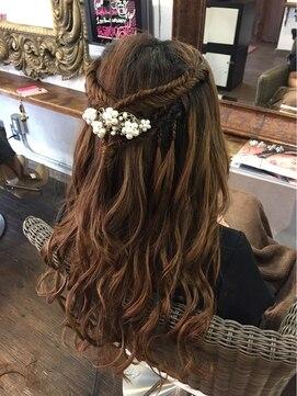 結婚式髪型ハーフアップ フィッシュボーンアレンジ☆彡