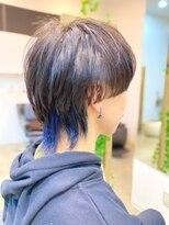 【Noci】メンズマッシュウルフ+インナーカラーブルー