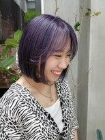 テトヘアー(teto hair)パープル シースルーバング 韓国ヘア タンバル 切りっぱなし