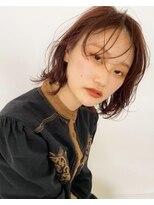 テトヘアー(teto hair)ピンクブラウン暖色系カラー似合わせくすみピンクボブレイヤー