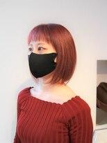 ヘアーライズ 池袋東口店(hair RISE)ピンクグレー×ぱっつん前髪ボブ