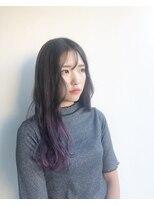 ヘアメイク オブジェ(hair make objet)グレージュパープルのグラデーションカラー