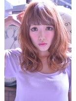 ラベリー(LOVELEY)LOVELEY ゆるふわフェニミンオレンジベージュミディ☆421
