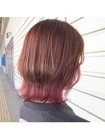 ルッツ(Lutz. hair design)オレンジピンク×フラミンゴピンクインナー