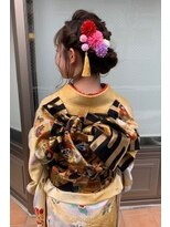 成人式、振袖、編み込みお団子