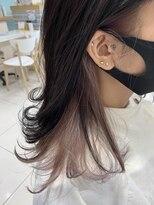 インナーカラー×ピンクパープル×ナチュラル×イヤリングカラー