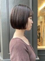 ヘアーアイスカルテット(HAIR ICI QUARTET)ミニボブ 切りっぱなし アッシュ 暗髪