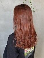 テトヘアー(teto hair)オレンジ コーラル 暖色カラー ハイライト オレンジブラウン