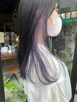 ヘアー アイス ルーチェ(HAIR ICI LUCE)インナーカラー パープル インナー紫 インナーパープル担当城倉
