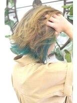 ヘアーサロン エール 原宿(hair salon ailes)(ailes原宿)style360 インナーカラー☆ビビットグリーン