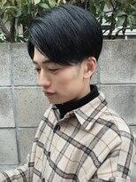 ◇サイドパート ブルーブラック かき上げヘア 刈り上げ 七三◇