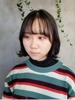 テトヘアー(teto hair)タンバルモリ ボブ 韓国 韓国ヘア シースルーバング 黒髪