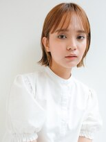 ギンザ ピークアブー 並木通り(GINZA PEEK A BOO)【デザインカラー】オレンジイヤリングカラー×くびれボブ