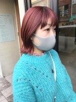 ヘアー アイス ルーチェ(HAIR ICI LUCE)ブリーチ☆レッドカラー 赤カラー ボブ 担当山中