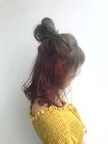 ヘアメイク オブジェ(hair make objet)ロブのピンクインナーカラー