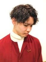 銀座マツナガ 浅草店ツイストスパイラルパーマ 黒髪ツーブロック73アップバング