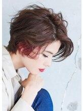 アッシュ 自由が丘店(Ash)赤系のインナーカラーで普通のショートヘアも雰囲気が変わる