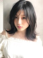 アグ ヘアー ドレス 喜久田店(Agu hair dress)《Agu hair》透明感アッシュグレージュ 外ハネセミディ