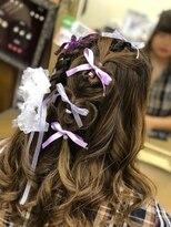 ヘアセットサロン アトリエ チャイ(Hair set salon atelier CHAI)リボン編み込みハートアレンジ