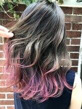 ラフ(La.a.g.f)ピンクパープル 毛先カラー
