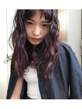 チクロヘアー(Ticro hair)【Ticro上山拓也】curly midi x bordeaux red