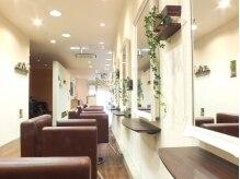 イデー ヘアサロン 駅前店(idee Hair Salon)の雰囲気(店内もグリーンで優しい空間に。)