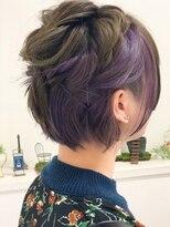 【RHYTHM】 ツーブロックショート/カーキアッシュに紫のインナー