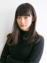【AO】ノームコア厚めバング☆耳かけ黒髪ピュアセミロング