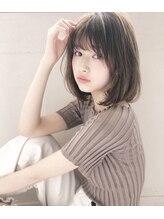 エレノア トーキョウー(ELEANOAH TOKYO)前髪薄めバングボブ大人かわいいココアブラウンフリンジウェーブ