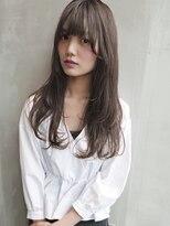 【Angelica 白石研太】 グレージュカラーシースルーバングロング