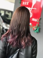 美容室 蓮(REN)毛先ピンクヴァイオレットWグラデーションカラー