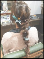 秋葉原コットン ヘアセット専門店ドライフラワー髪飾り 編みおろし