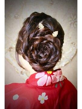 花火大会&夏祭り浴衣髪型 浴衣★編み込みお花アップ