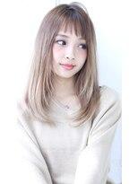 【AKIHIRO】デザインカラー厚めバングストレートパーマ縮毛矯正