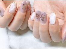 ネイルサロンブラン(nail salon BLANC)/パープルと大理石ネイル