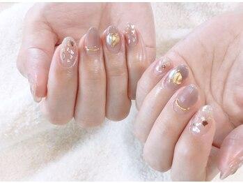 ネイルサロンブラン(nail salon BLANC)/シェルとパーツニュアンスネイル