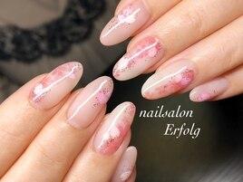 シアーカラー×桜の春ネイル!