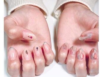パルネイル(PAL nail)/花×フィルムネイル