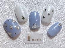 アイネイルズ 梅田店(I nails)/ライトブルーシンプルネイル