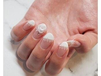 ネイルサロンブラン(nail salon BLANC)/レースとお花のブライダルネイル