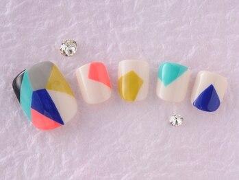 サンミーゴネイル 神戸店(Sunmego Nail)/【FOOT】幾何学ブロックネイル