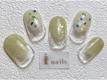 アイネイルズ 梅田店(I nails)/塗りかけ押し花ネイル北欧