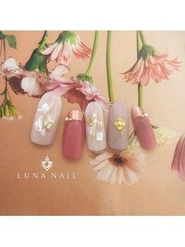 ルナ ネイル(LUNA NAIL)/ピンクミラーフレンチ