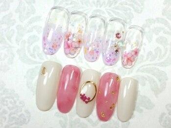 桜フレンチネイル・押し花ネイル