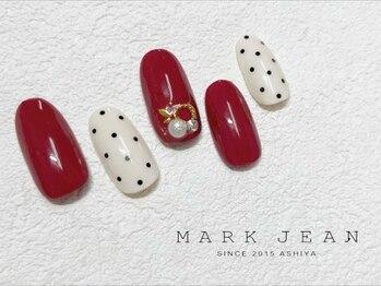 マークジーン 姫路(MARK JEAN)/ボルドー ドット パール ネイル