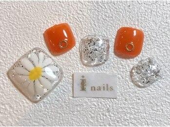 アイネイルズ 梅田店(I nails)/クリアフラワーフット