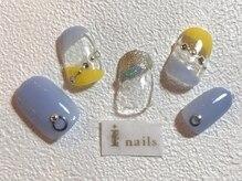 アイネイルズ 梅田店(I nails)/イエロー×ブルー 抜け感ネイル