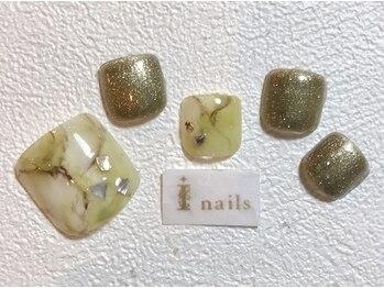アイネイルズ 梅田店(I nails)/グリーン天然石フット